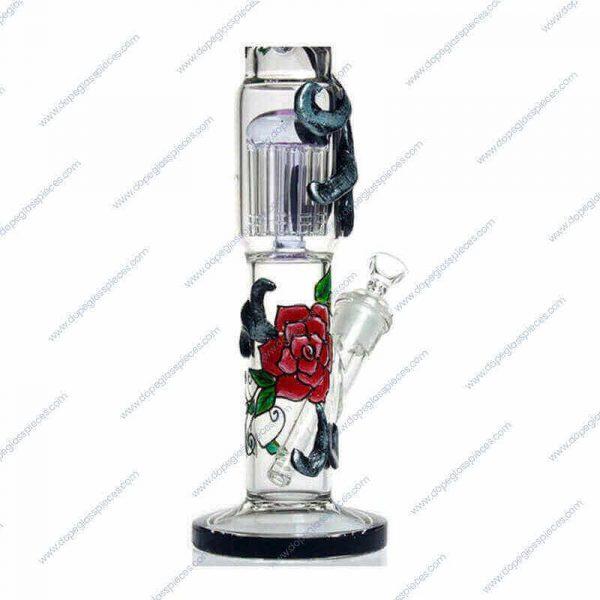 18 Inch Black Rose Themed Perc Glass Piece 3