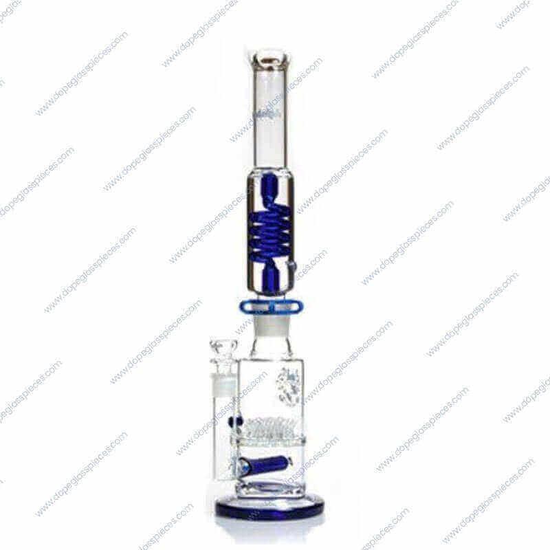 18.5 Inch Blue Colored Glycerin Dual Perc Glass Piece