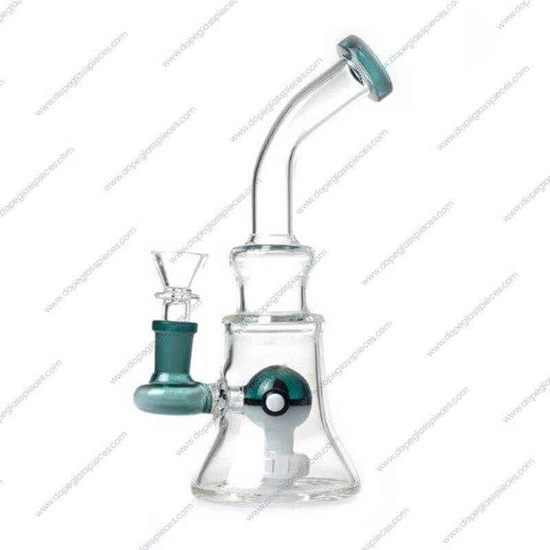 8 Inch Green Multicolored Pokeball Themed Glass Piece